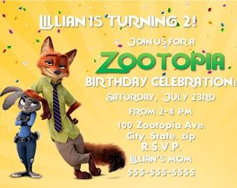 Zootopia Birthday Invitation - Print Your Own - Digital File