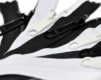 5 Black & 5 White~ 10 Long Pull Handbag Zippers - YKK # 4.5  Closed Bottom~Pick the length~ZipperStop Wholesale Authorized Distributor YKK®