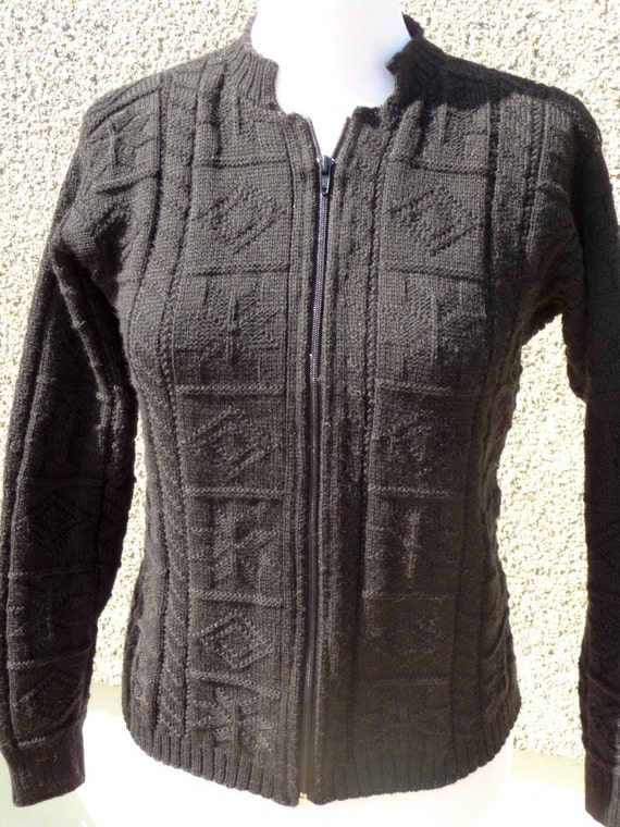 Black Knitted Cardigan with Zip