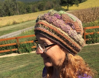 Slouchy tam hat, fall colors beret, crochet item, best gift for her