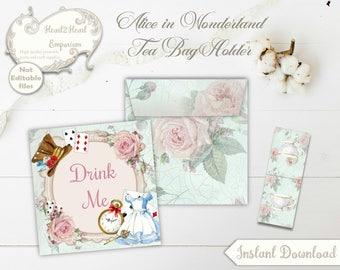 Alice in Wonderland Tea Bag Envelope, Collage Sheet, Printable Tea Party, Download, DIY, Printable Wonderland, Instant Download, Drink Me