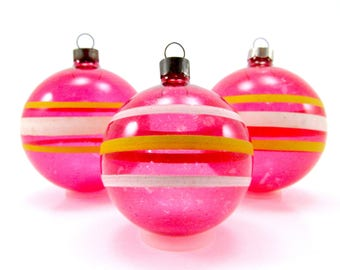 1940s Unsilvered War Era Christmas Ornaments Red Vintage Striped Christmas Decorations Baubles