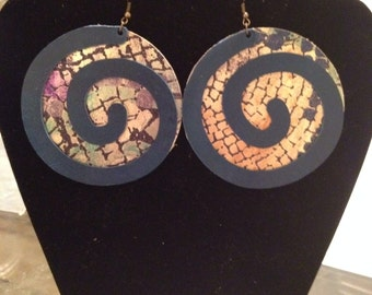 Leather Earrings- Circles w/ Swirls