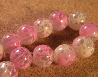 10 glass beads 12 mm speckled 2 translucent tones - pink-PE189-6