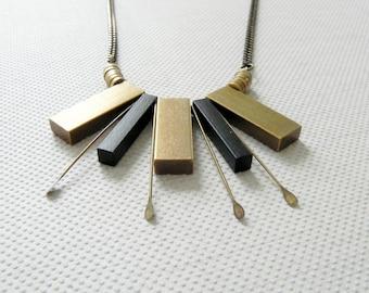Statement Necklace, Gold & Black Necklace, Elegant Necklace, Bib Necklace, Fan Necklace, Contemporary Jewelry, Urban Necklace, Modren Style