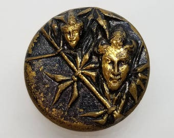 Bamboo Fairy ~ or Jester and Bamboo ~ Antique Brass Picture Button ~ just under 7/8 inch 21mm ~ Oriental Story Pictorial Sewing Button