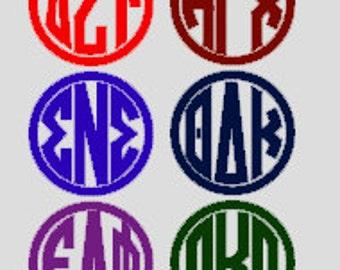 Greek Letter Club Monogram Decal; Greek Clubs, Sorority, Fraternity