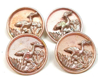 1800s French BUTTONS, 4 Victorian birds with pink tint, unused.