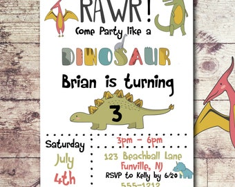 Dinosaur Birthday Invitation - Dinosaur party invitation - Dinosaur invitation - T Rex Invitation - PRINTABLE - Boys Birthday Invitation