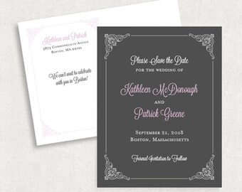 Purple and Gray Save the Date Postcards, Purple Save the Date Postcards, Gray Save the Date Postcards, Damask Save the Date Postcards, PDF