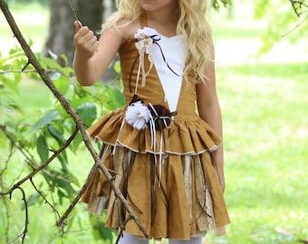 Deer Costume Dress, Deer Dress, Woodland Birthday Dress, Deer Girl Costume, Halloween Costume, Deer Costume, Woodland Dress, Deer Girl Dress