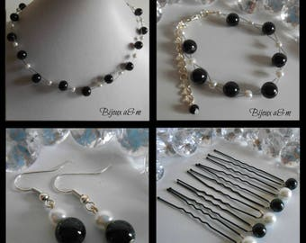 Set of 4 wedding pieces twist of black and white beads