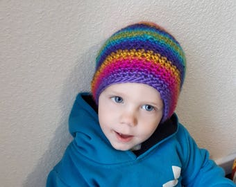 Baby beanie, rainbow hat, crochet hat for kids , toddler spring crochet colorful stripped beanie
