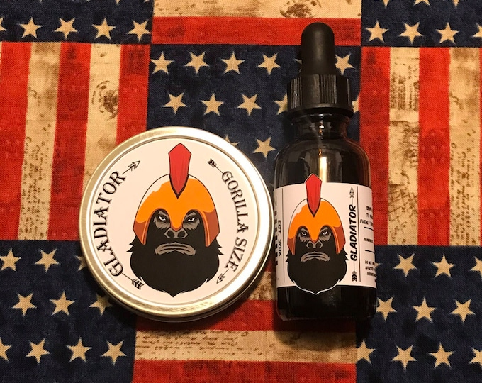 Featured listing image: Gladiator All Natural Moisturizer Beard Balm & Oil Set, Bearded Man Gift, Father's Day Gift, Mens Beard Products-GORILLA SIZE