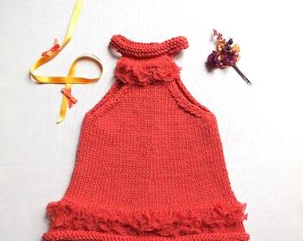 Tunic summer top knitted hand - size 3 to 4 years - yarn Katia Gemini 100% cotton girl orange