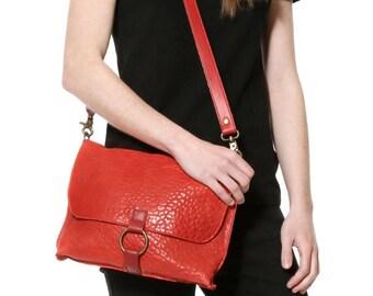 Red crossbody bag embossed leather, messenger women handbag, everyday medium purse, shoulder saddle bag, cross body with detachable strap