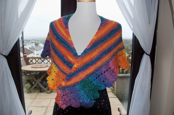 Handknitted Shawl/Shawlette in Glittery/Sparkly Shades of Orange, Purple and Blue