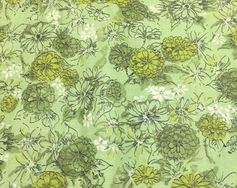 Vintage 1970s Cotton Fabric Green Floral 1 Yd 35 Inches