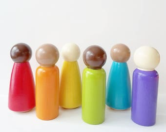Multicultural Rainbow Peg Dolls, Wooden Peg Dolls, Wooden Toddler Toys, Toddler Gift, Montessori Toddler, Preschool Toys, Educational Toys