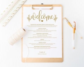 Gold Wedding Itinerary, Printable Itinerary, Welcome Bag, Printable Welcome Letter, Welcome Letter, Wedding Weekend, WPC_1010