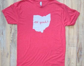 ohio tshirt, ohio, ohio state pride tshirt, unisex, scarlet and gray, Oh yeah tshirt, graphic tshirt, witty tshirt, men's gift free ship