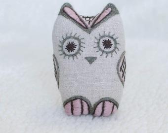 Stuffed owl. Soft owl toy. Embroidered bird toy. Graduation owl gift. Owl stuffed animal. Embroidered bird. Linen bird