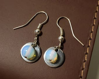 Moonstone and Silver Disc Earrings