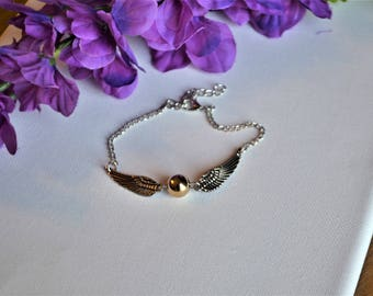 Snitch, Charm bracelet, gold, bronze, wizard, flying snitch, charm necklace, quittage, harry, wings, gold, snitch bracelet, snitch jewelry