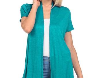 Short Sleeve Open Front Vest Jade