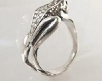 Solid Sterling Silver (92.5) Frog Wrap Around Band Ring
