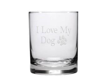 I Love My Dog Whisky Glass /  Free Personalization / Dog Lovers Whisky Glass / Personalized Glass / Personalized Gift
