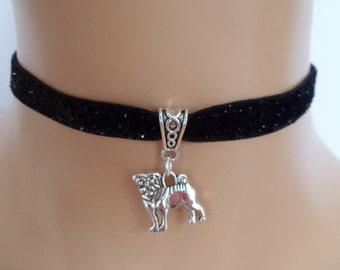 pug dog choker, velvet choker, black glitter ribbon, elasticated ribbon