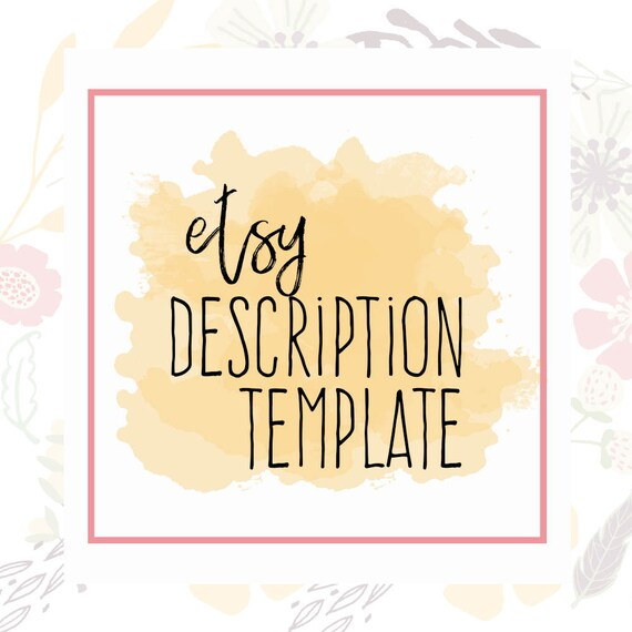 Etsy Description Template Etsy Product Template Etsy Help