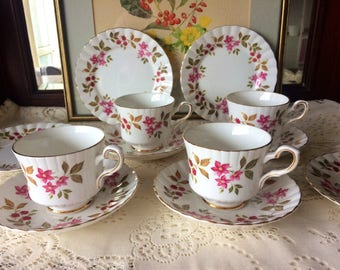 14 Piece Royal Stafford 'Fragrance' Bone China Tea Set
