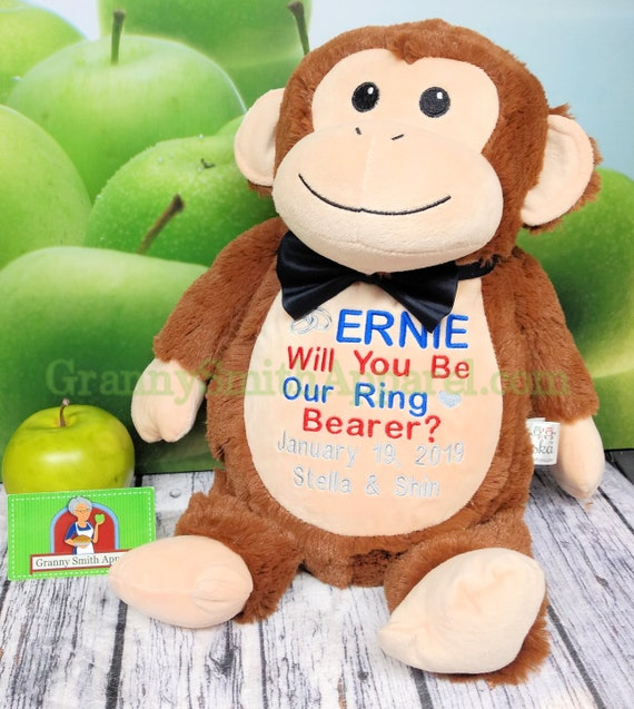 Cute MONKEY plush custom animal. Stuffie. Embroidered, personalized tummy. Memorial, Newborn, or a gift for someone left behind.