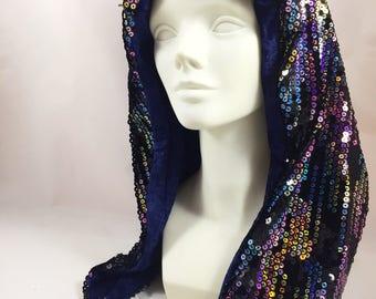 Dripping Rainbow Sequin Hood