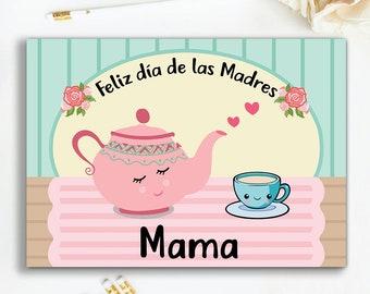 Vintage Tea Spanish Mother's Day Card, feliz día de las madres card, greeting card for mom, vintage tea card,mom cards in spanish