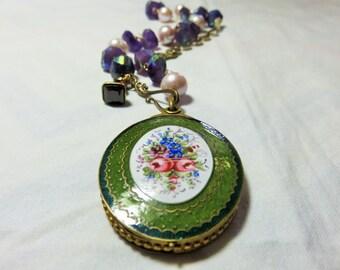 Huge Victorian Flower Enamel Mirror Lockset, Brass & Garnet FOB, Freshwater Pearls Gold Necklace