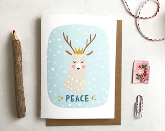 Peace - Deer with Crown Holiday Card