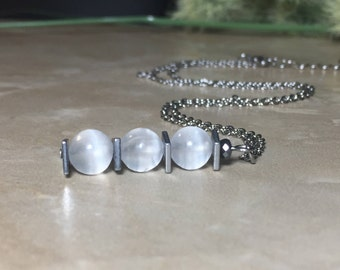 Selenite Necklace, Healing Crystal, Selenite Choker, Selenite Crystal, Chakra Crystal, Purification Crystal, Stainless Steel Necklace
