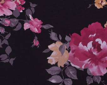 Black Red Flower Printed on Rayon Spandex Jersey Knit Fabric by the Yard- Style -P 110-C-HVY-RSJ