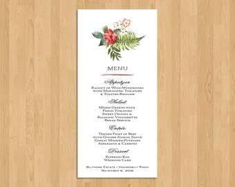 MENU CARD - Festive Pineapple and Floral Hawaiian/Tropical/Beach/Destination Wedding