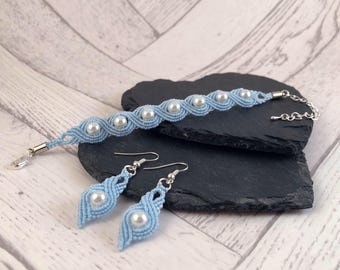Something Blue Jewellery Set, Bridal Jewellery Set, Bridal Jewellery, Macrame Jewellery, Bracelet and Earrings, Something Blue Gift, Bridal