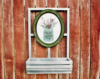 Farmhouse, Rustic, Window, Christmas, Frame, Mason Jar, Unique, Handmade, Christmas Decor, Silverware Holder, Flower Box, Candle Holder,