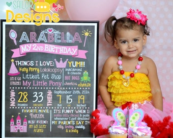 SALE Princess Birthday Chalkboard Poster, Birthday Sign,  Milestone Poster,Includes  (1st, 2nd, 3rd etc. bday)