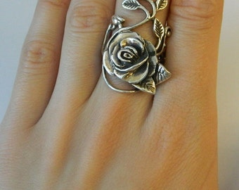 925 Sterling Silver Rose  leaf Vine design Ring ,  Stunning, Heavy