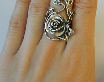 925 Sterling Silver Rose  leaf Vine design Ring ,  Stunning, Heavy over 12 grams