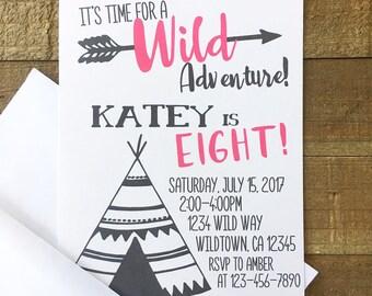 12 adventure birthday invitations, girl wild adventure party invites, teepee and arrow birthday invitation, black white pink birthday invite