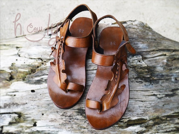 Sandals Brown Sandals Sandals Leaf Cowgirl Hippie Leaf Women Sandals Sandals Sandals Leather Leather Handmade Boho Sandals Womens qH1dt41w