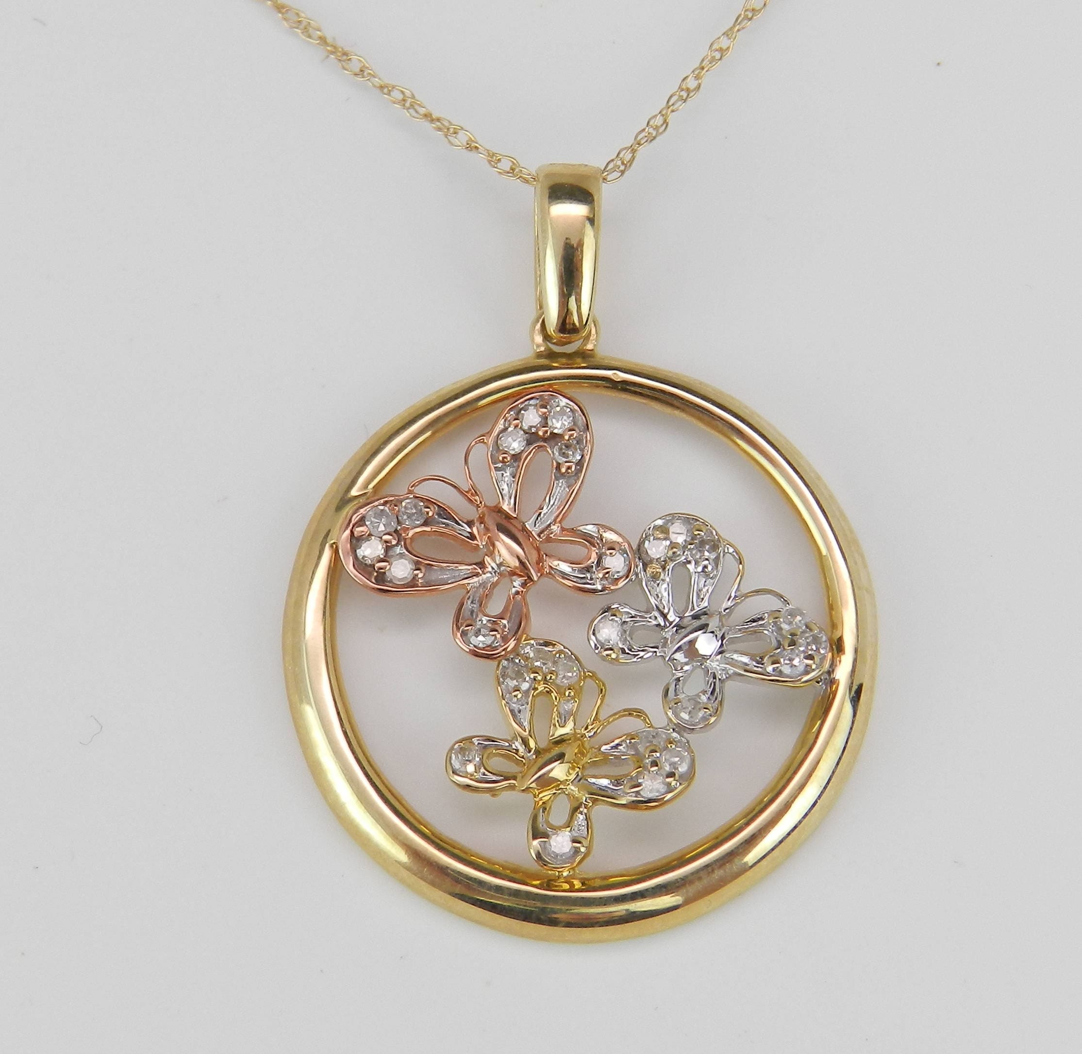 gold pink journey ladies tri image diamond yellow and three pendant color in stone